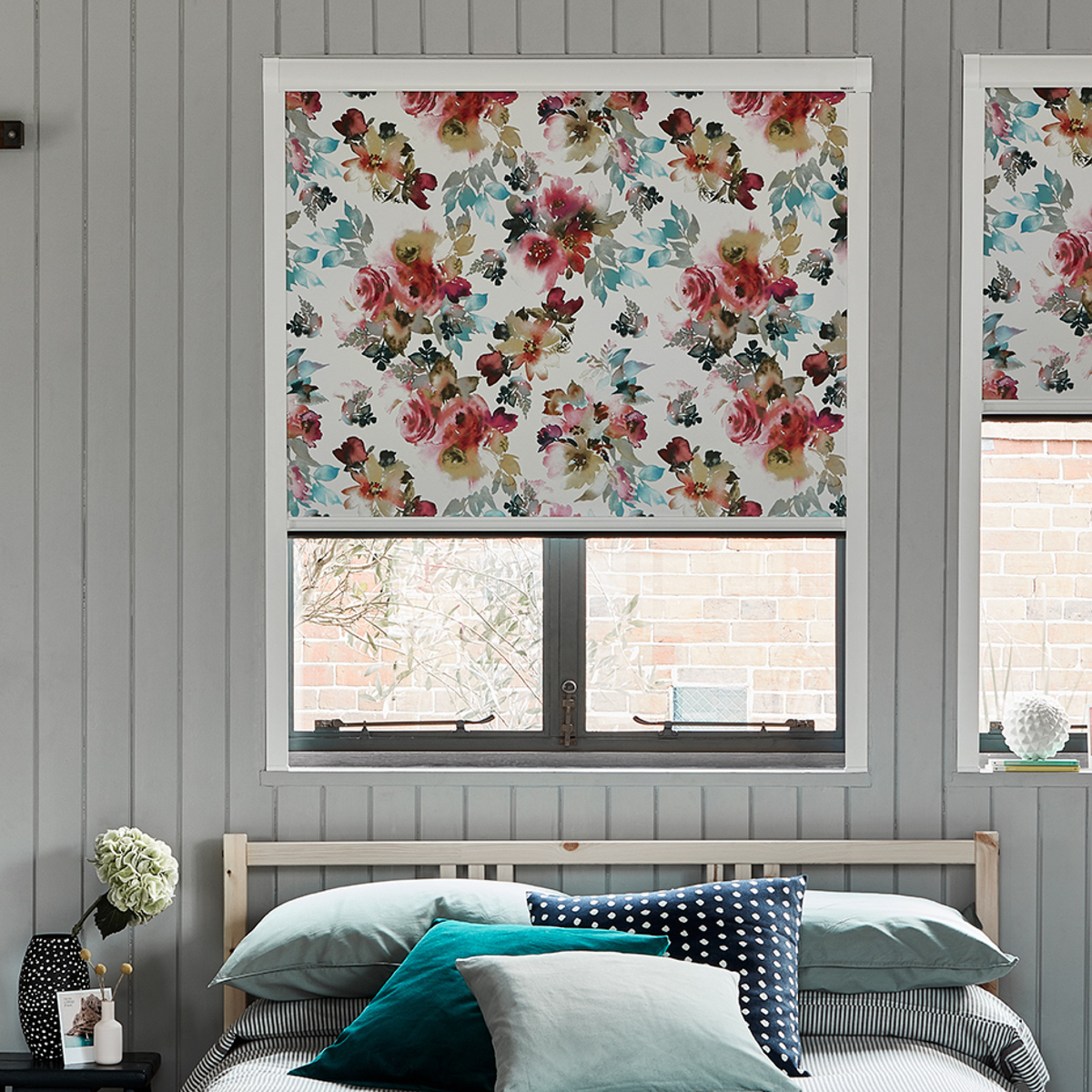 BlocOut™ black out blinds with Oriental Rose fabric