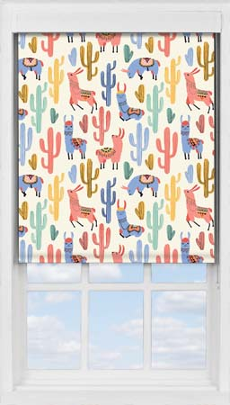 Premium Roller Blind in Happy Lamas Blackout