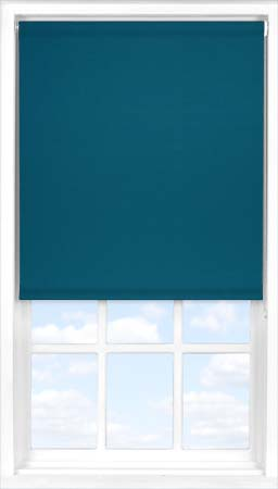 Motorised Roller Blind in Peacock Blue Blackout