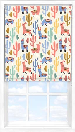Motorised Roller Blind in Happy Llamas Blackout
