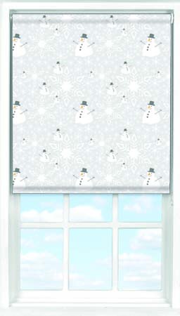 Motorised Roller Blind in Happy Snowmen Blackout