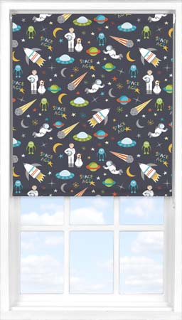 Motorised Roller Blind in Space Age Blackout