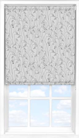 Motorised Roller Blind in Wild Geese Dark Grey Blackout