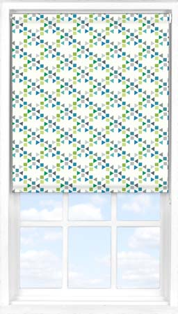 Motorised Roller Blind in Triangles Teal Blackout