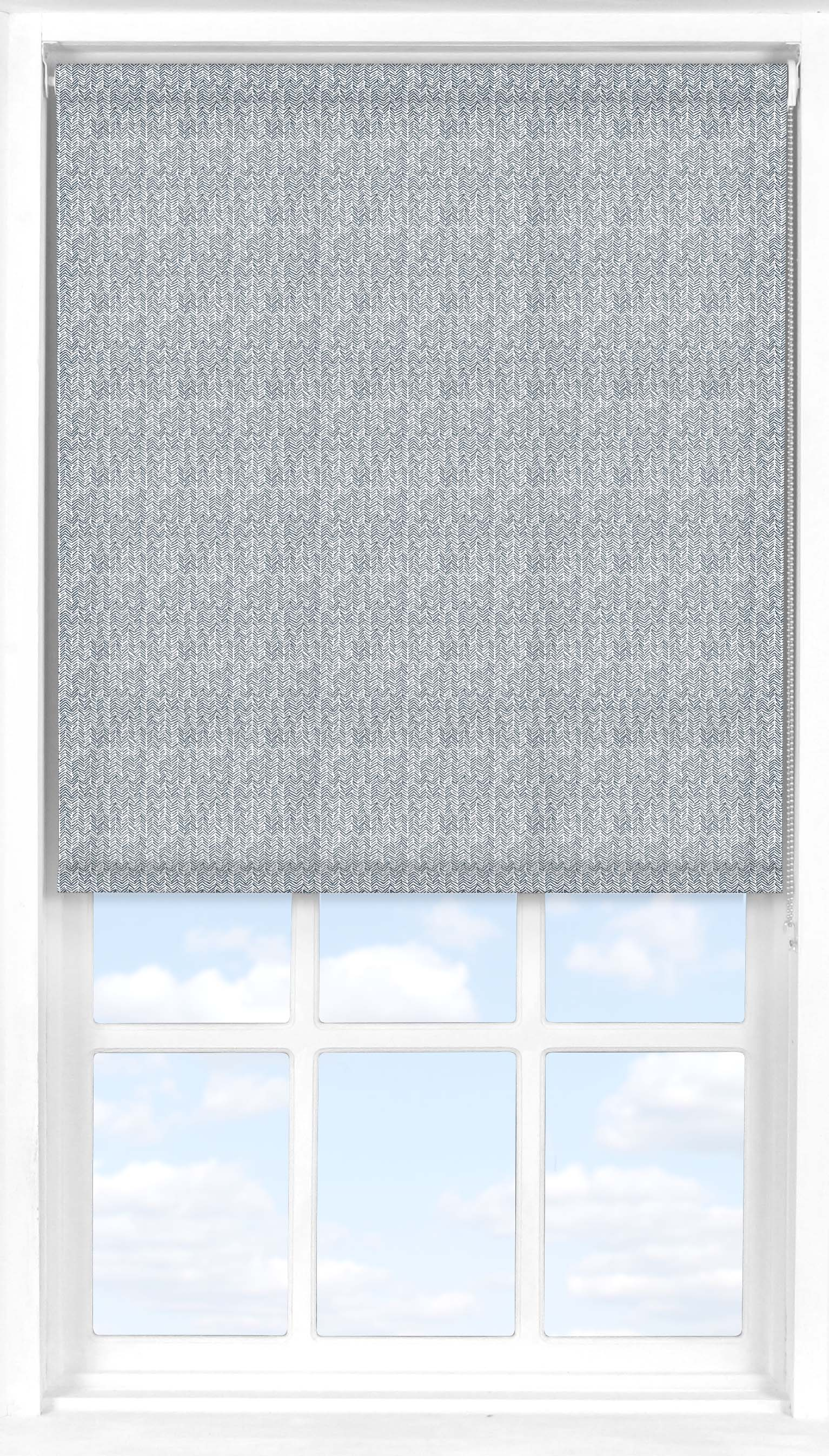 Bloc Blinds Roller Blind In Denim Blue Herringbone