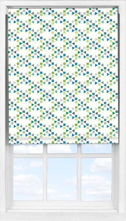 Easifit Roller Blind in Triangles Teal Blackout