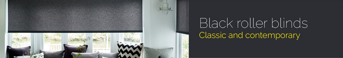 Black Roller blinds in a bright living room
