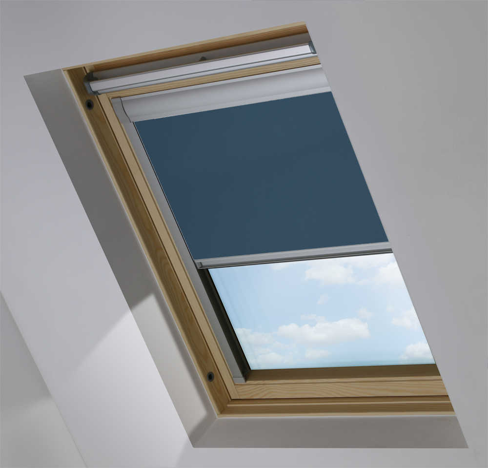 Made-To-Measure Premium Skylight Blind in Fisherman Blue Blackout