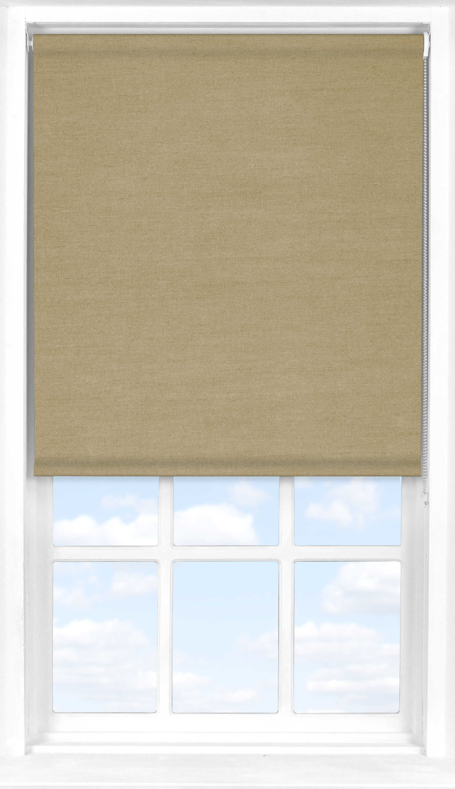 Motorised Roller Blind in Natural Linen Translucent