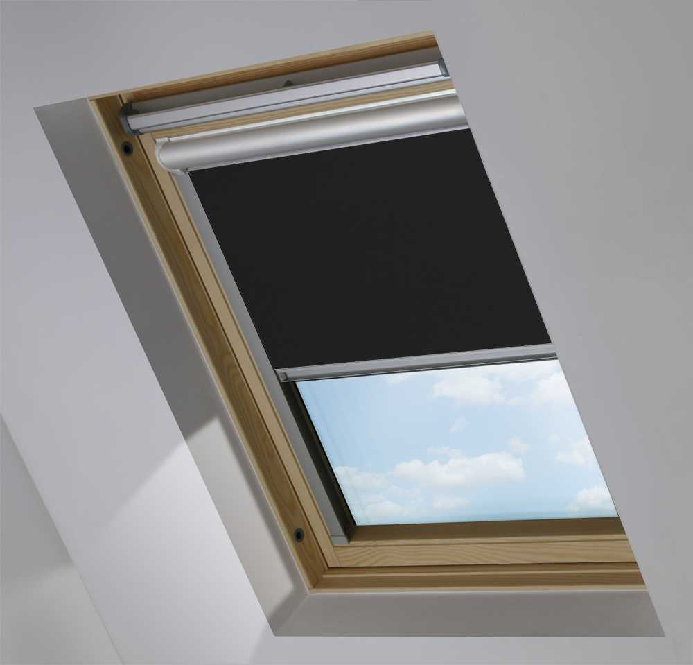 Solar Skylight Blinds to Suit VELUX® Windows in Jet Black Blackout
