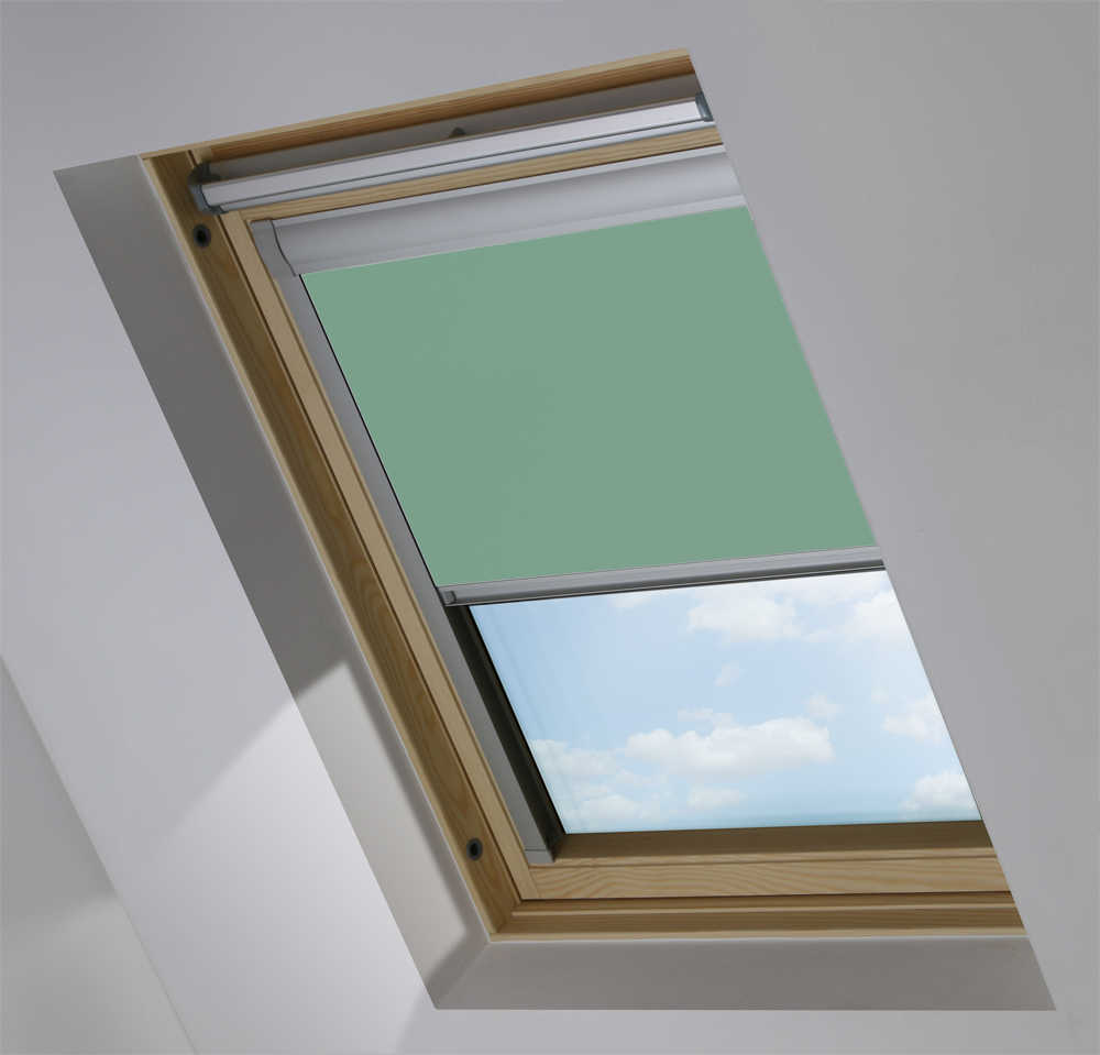 Made-To-Measure Premium Skylight Blind in Crockery Teal Blackout