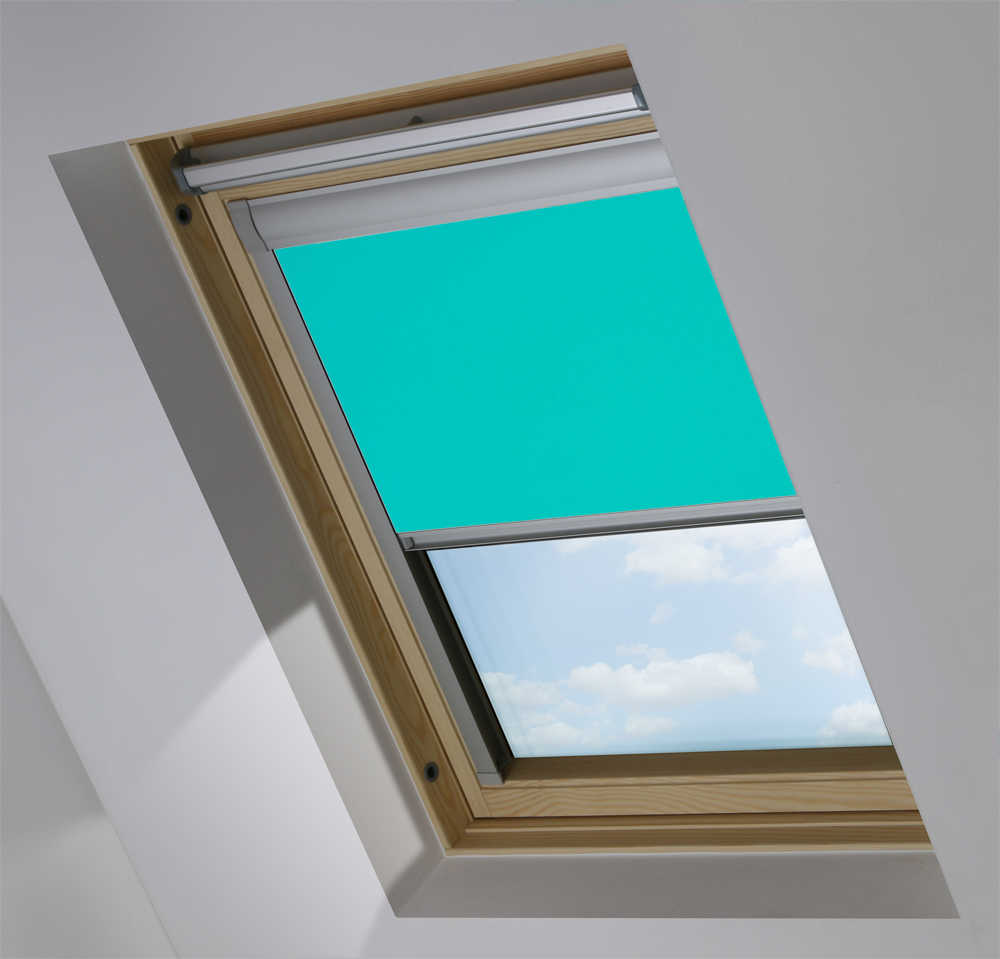 Made-To-Measure Premium Skylight Blind in Kingfisher Blue Blackout