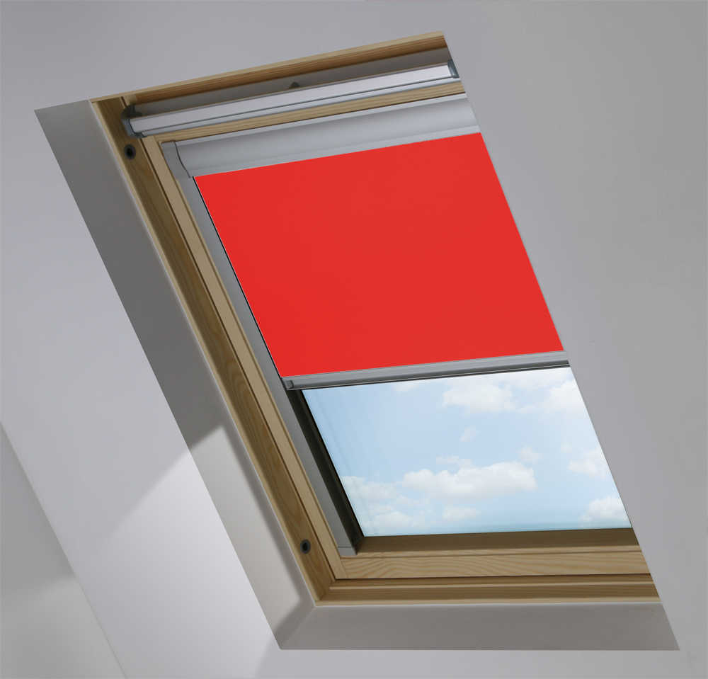 Skylight Blinds to Suit OKPOL® Windows in Carnival Red Blackout