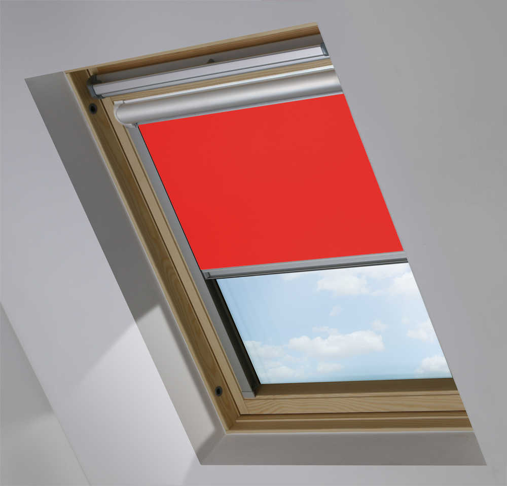 Solar Skylight Blinds to Suit FAKRO® Windows in Carnival Red Blackout