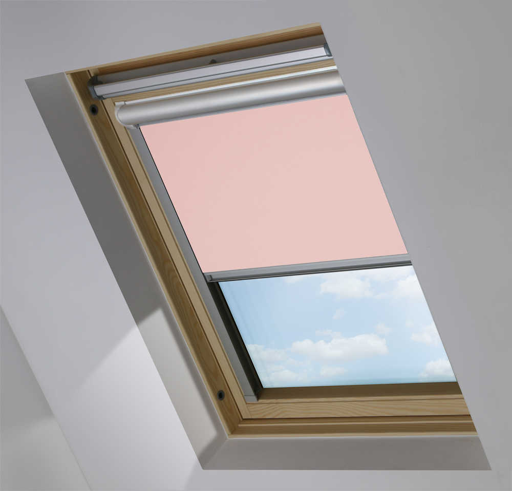 Solar Skylight Blinds to Suit FAKRO® Windows in Mallow Pink Blackout