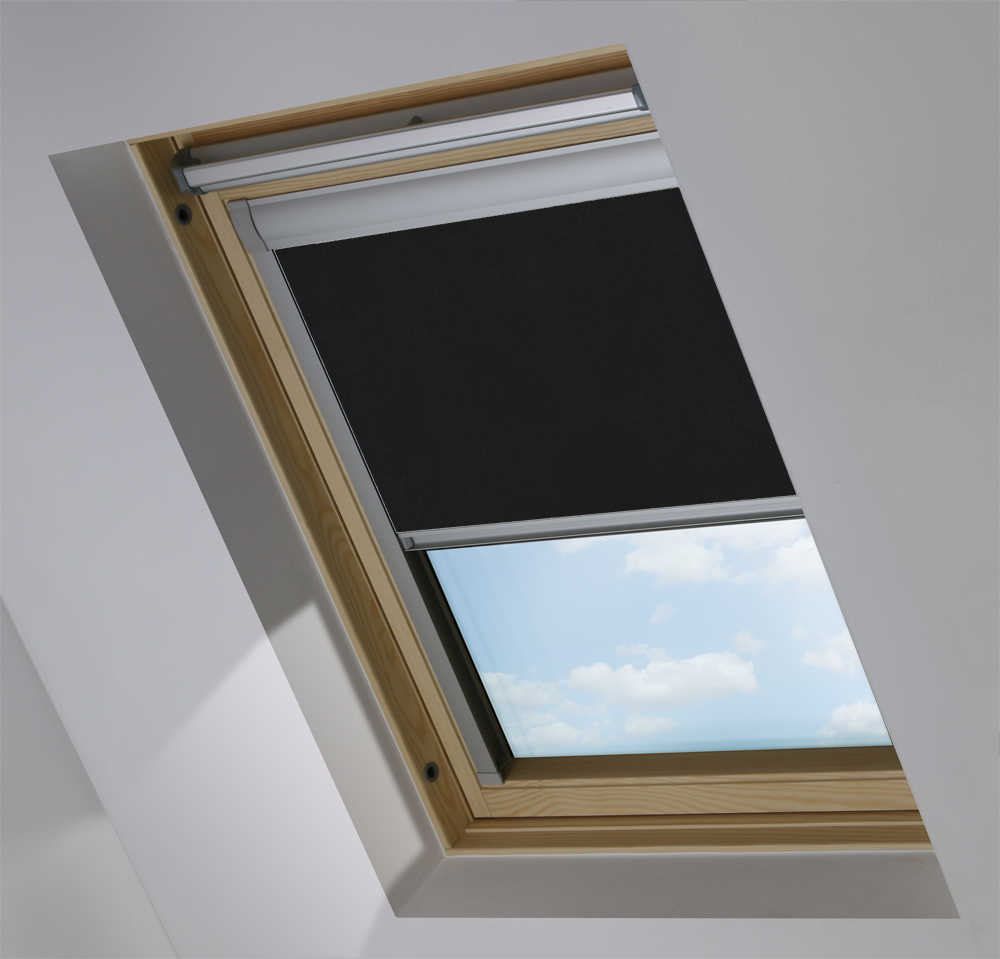 Made-To-Measure Premium Skylight Blind in Jet Black Translucent