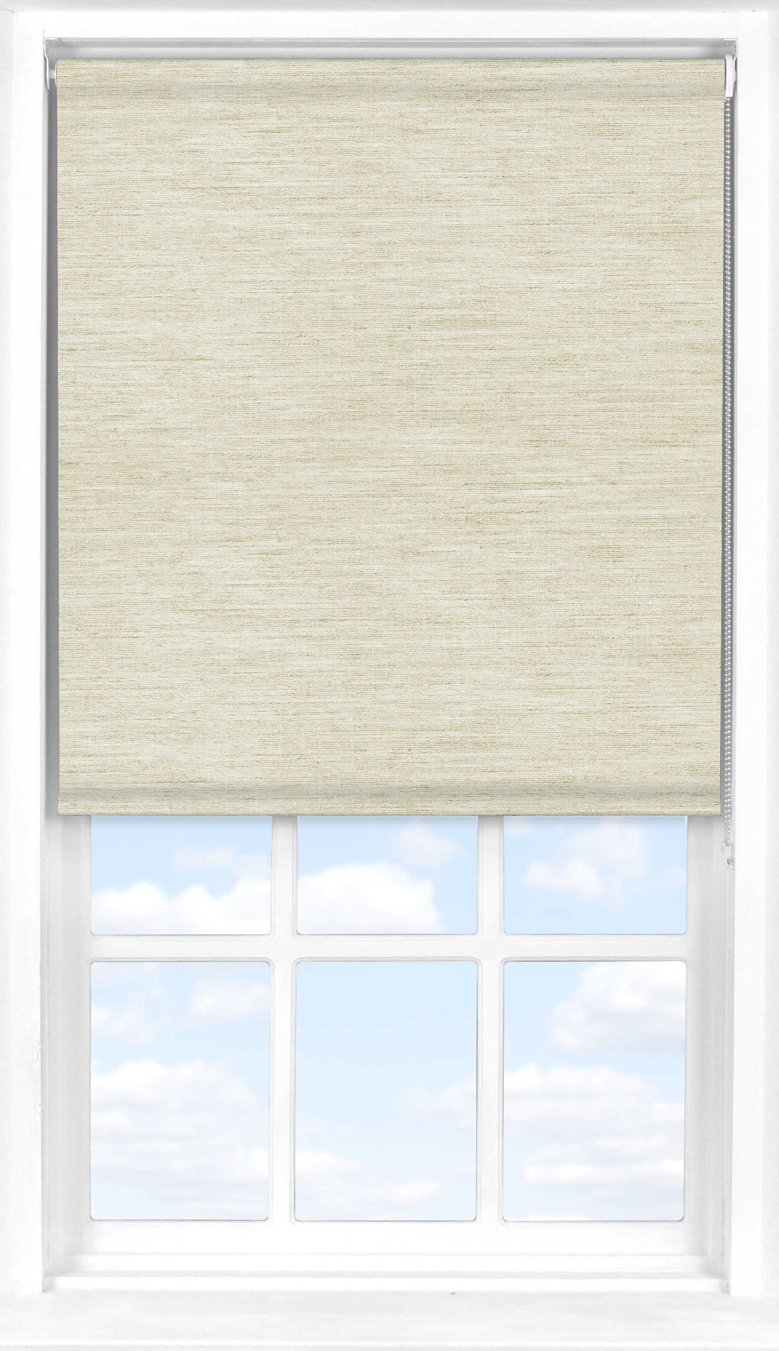Motorised Roller Blind in Light Seagrass Translucent