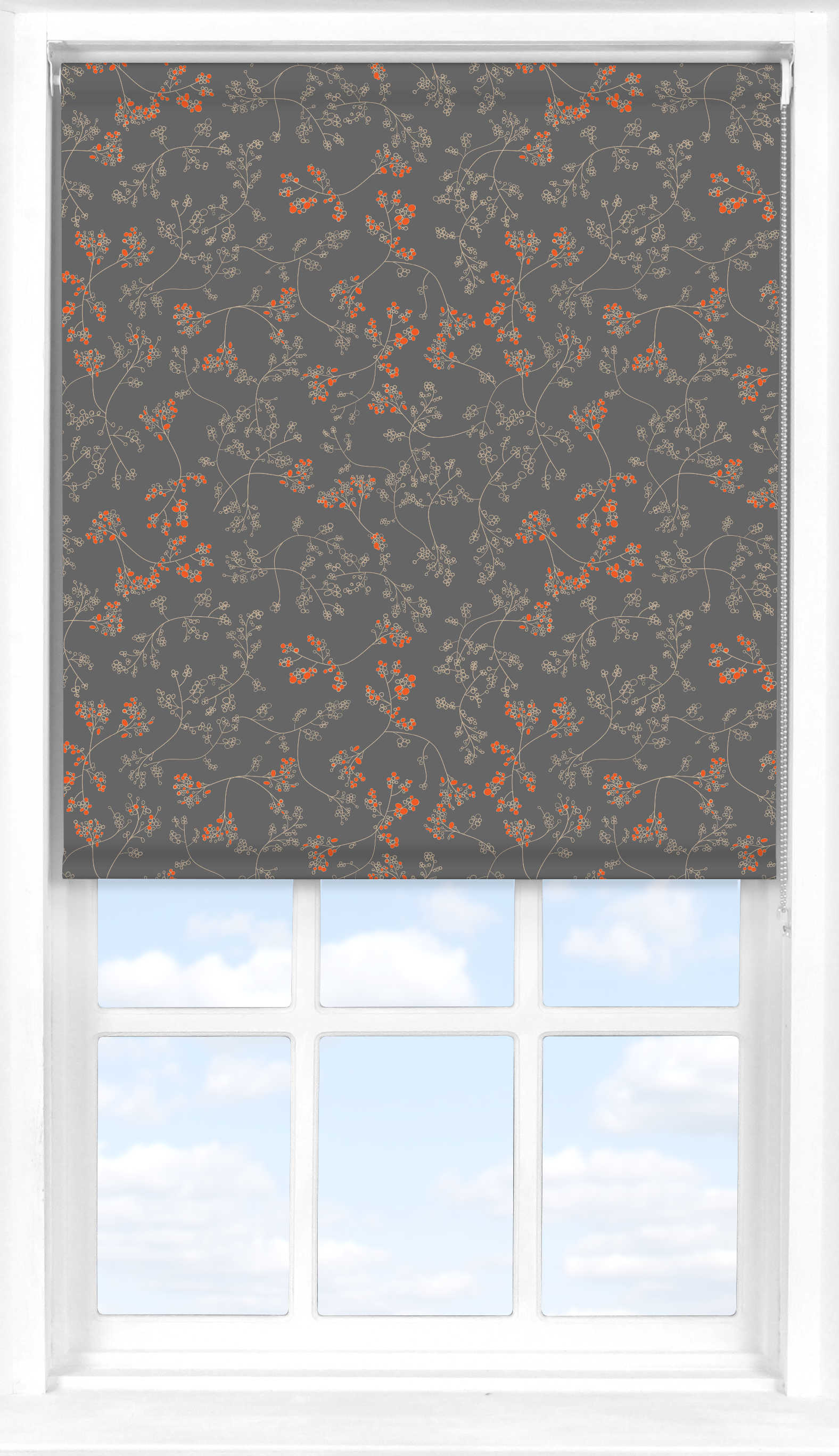 Motorised Roller Blind in Meandering Buds Orange Blackout
