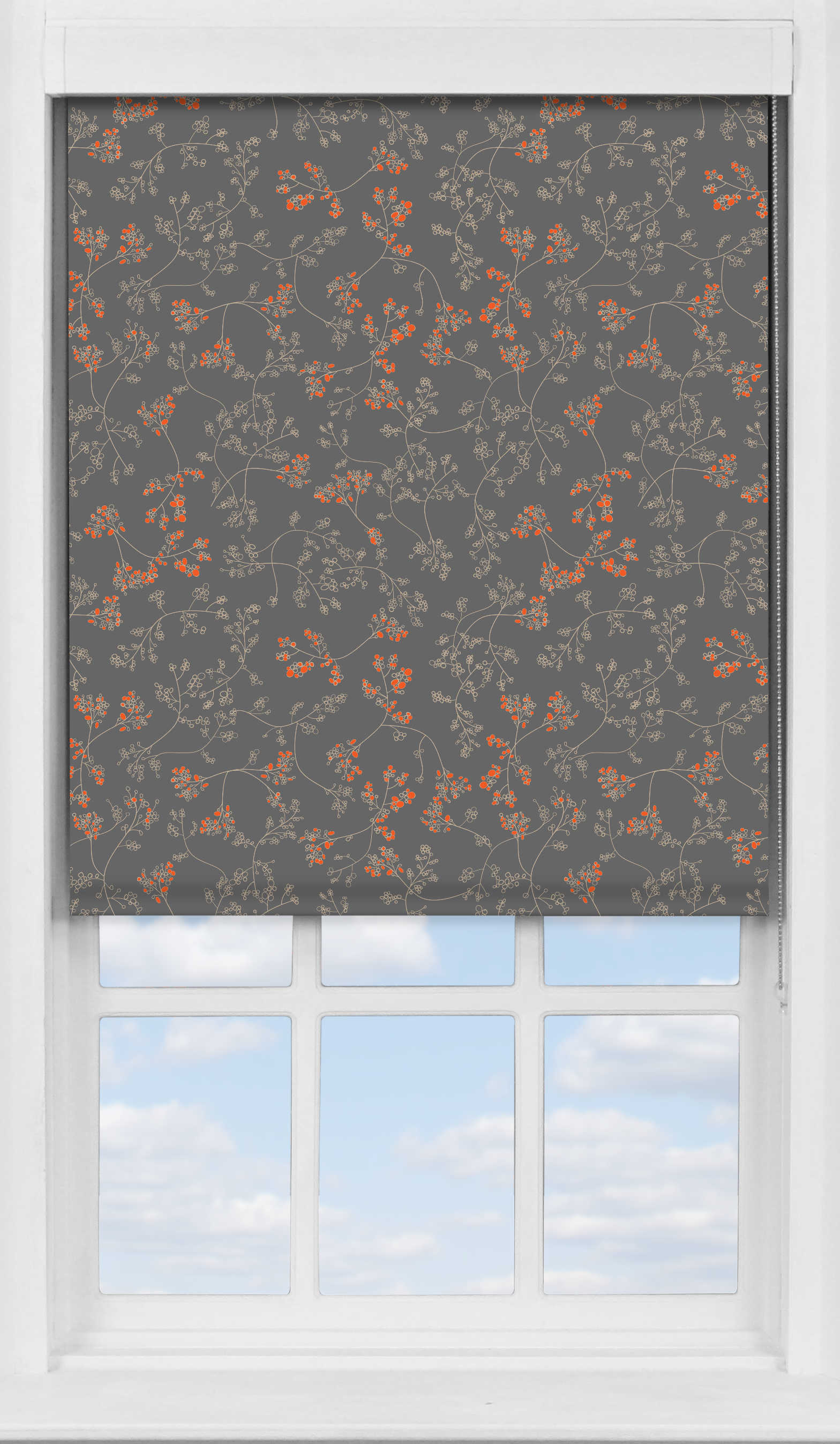 Premium Roller Blind in Meandering Buds Orange Blackout