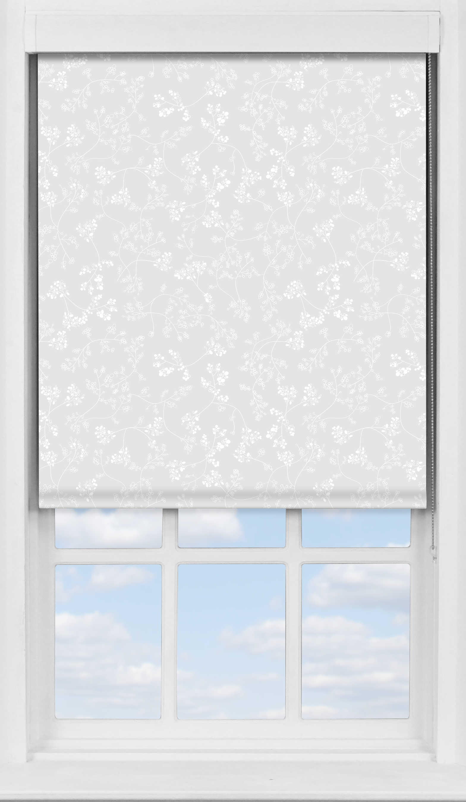 Premium Roller Blind in Meandering Buds White Blackout