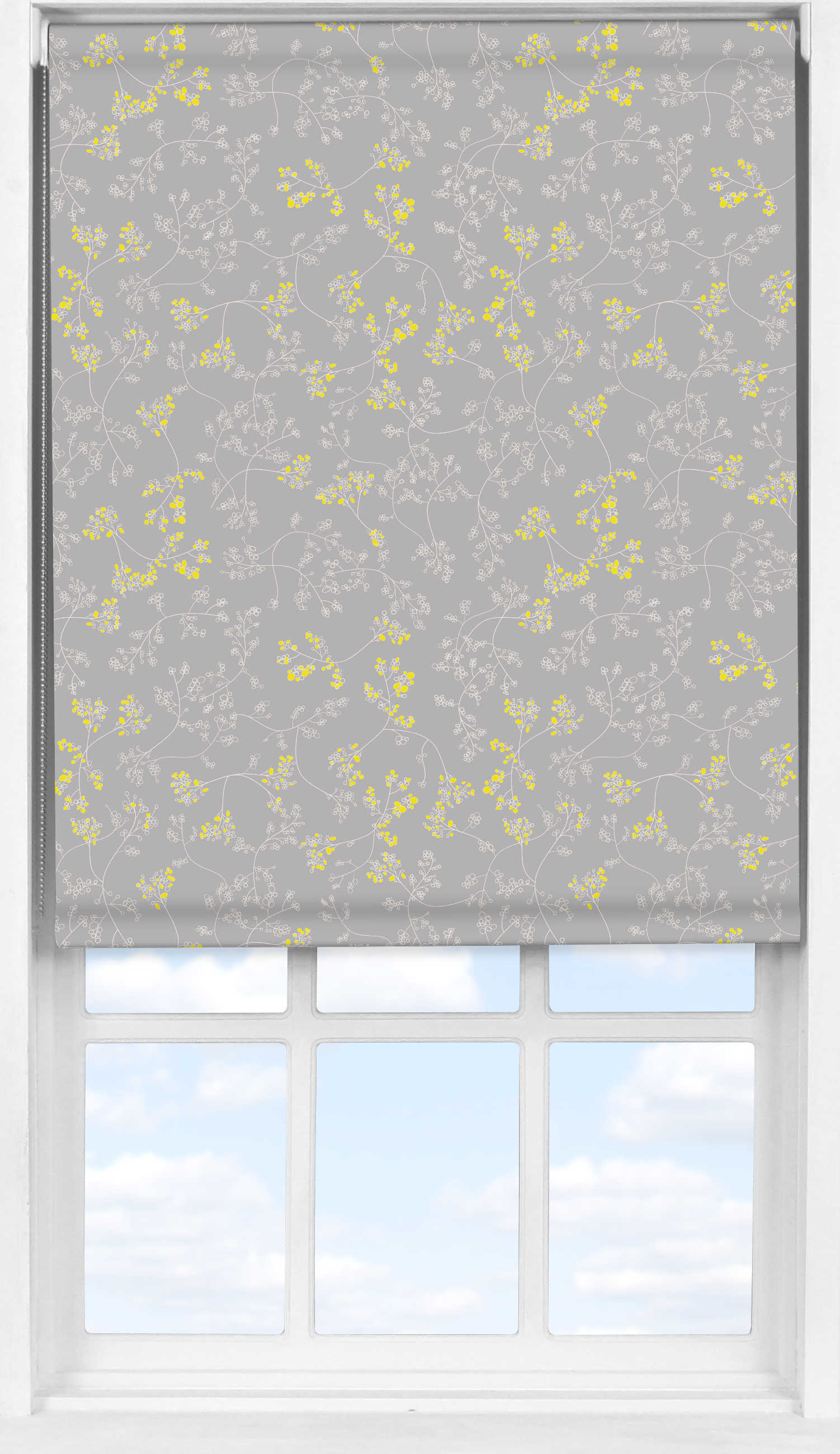 Easifit Roller Blind in Meandering Buds Yellow Blackout