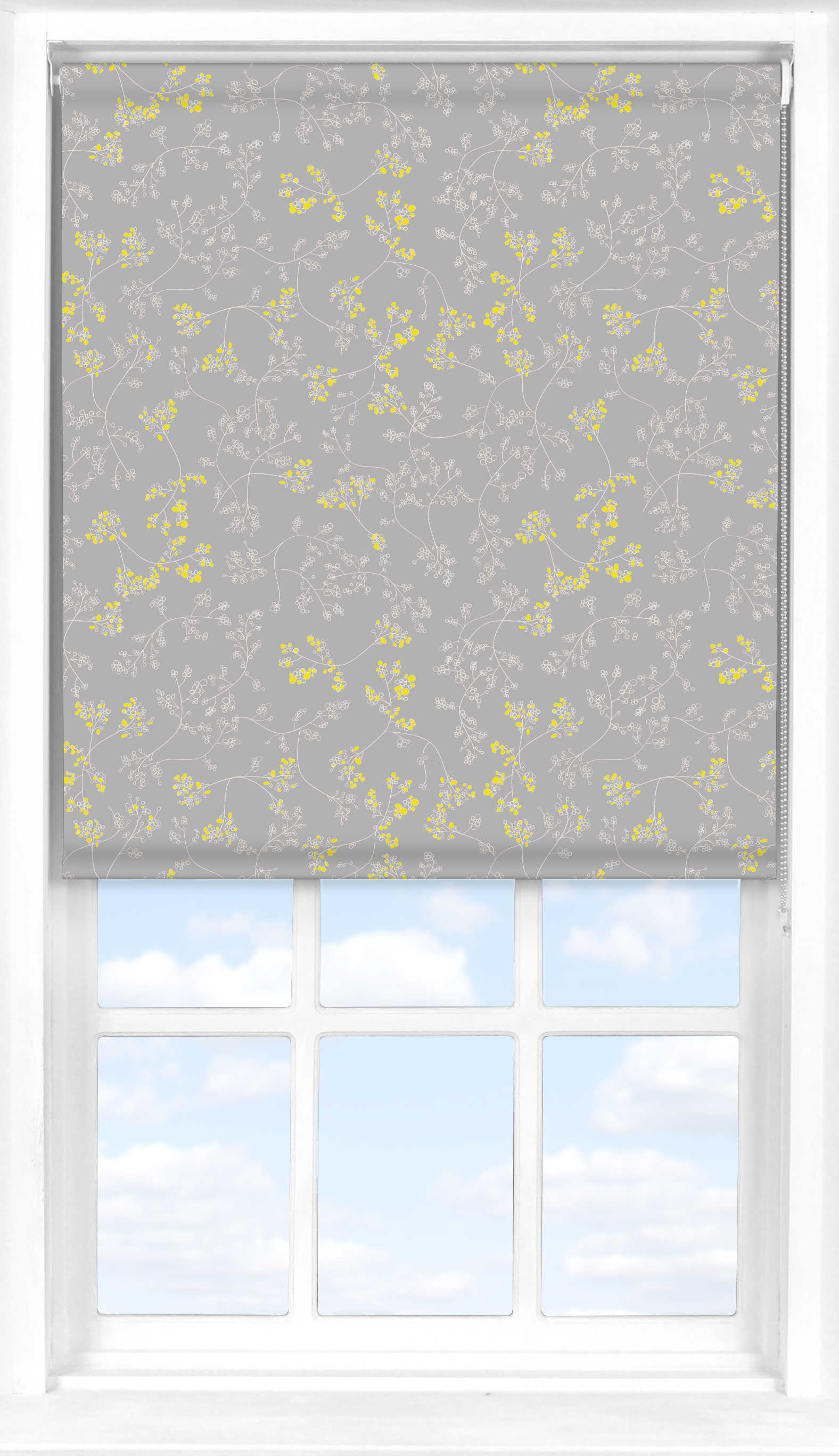 Roller Blind in Meandering Buds Yellow Blackout