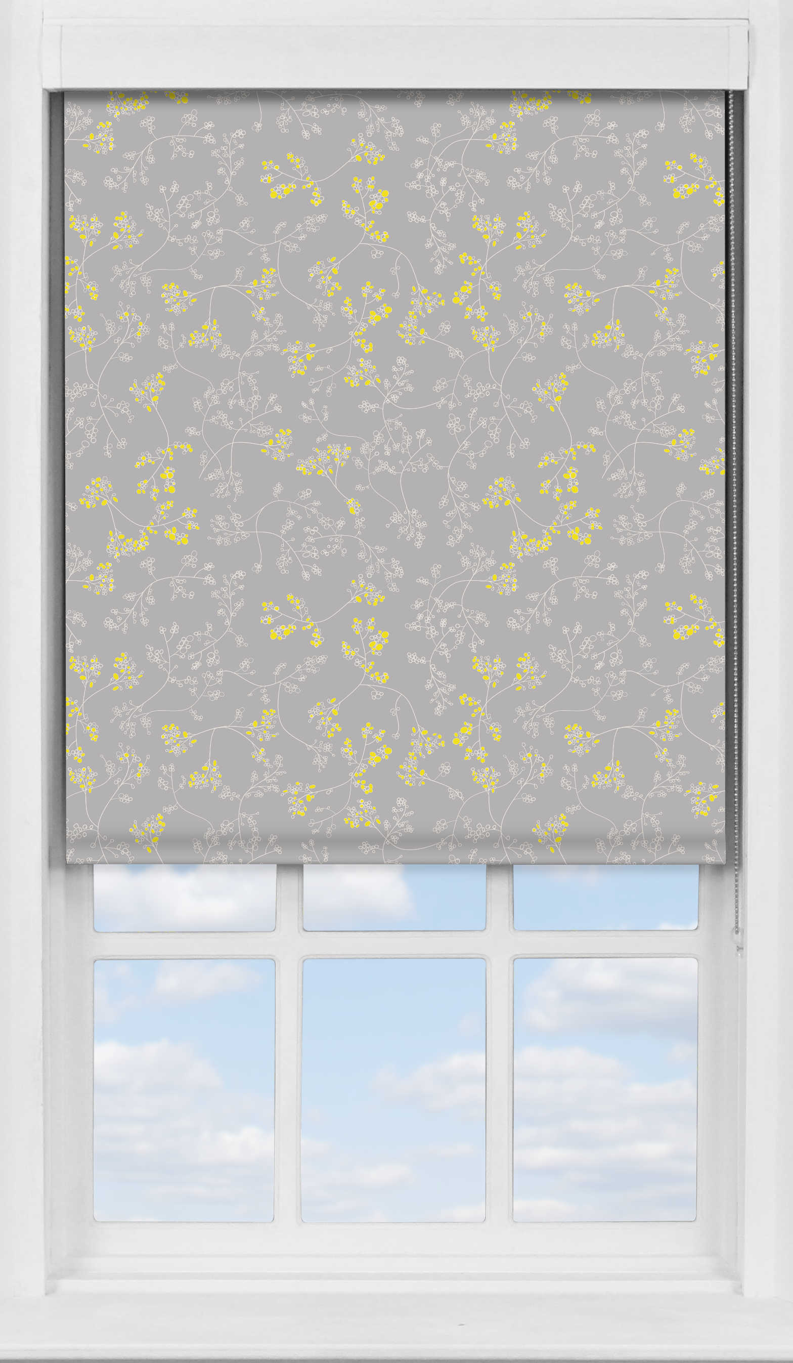 Premium Roller Blind in Meandering Buds Yellow Blackout