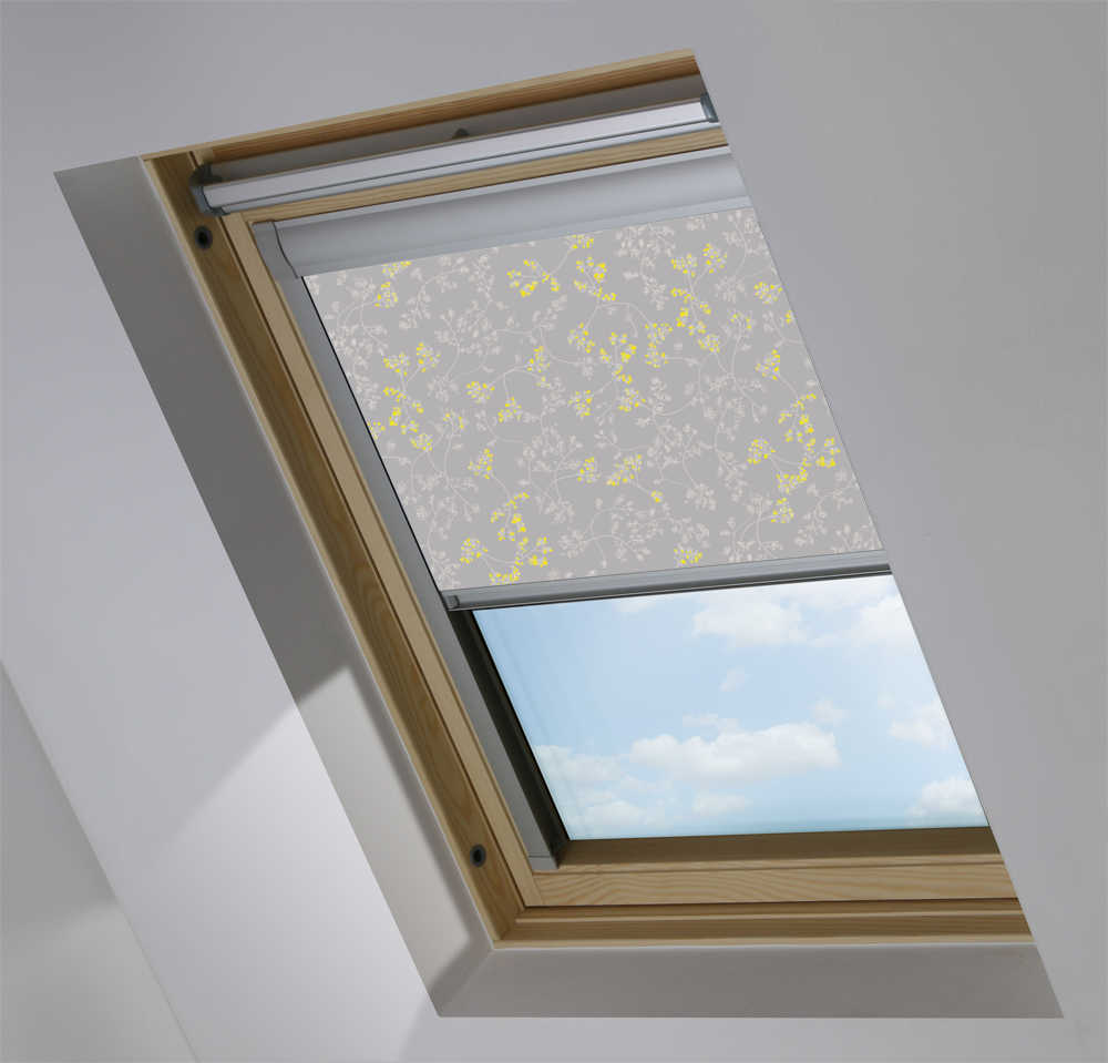 Made-To-Measure Premium Skylight Blind in Meandering Buds Yellow Blackout