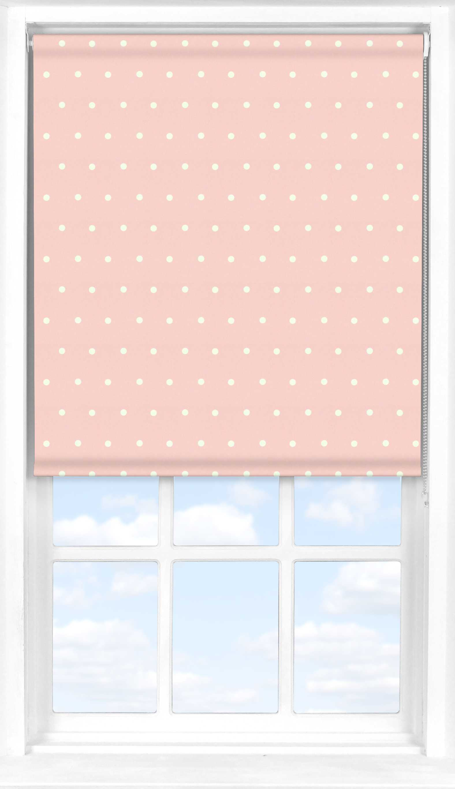 Roller Blind in Pink Polka Dot Black Out