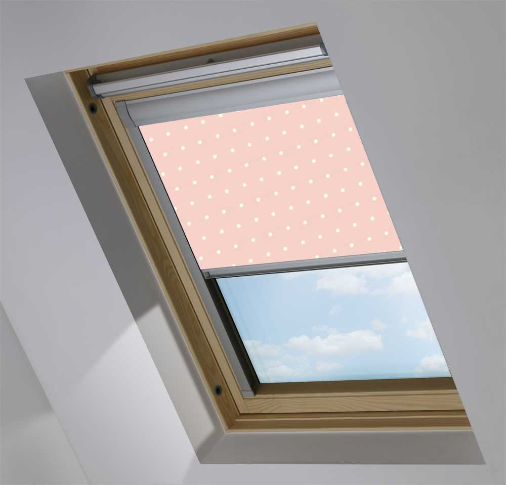 Made-To-Measure Premium Skylight Blind in Pink Polka Dot Black Out
