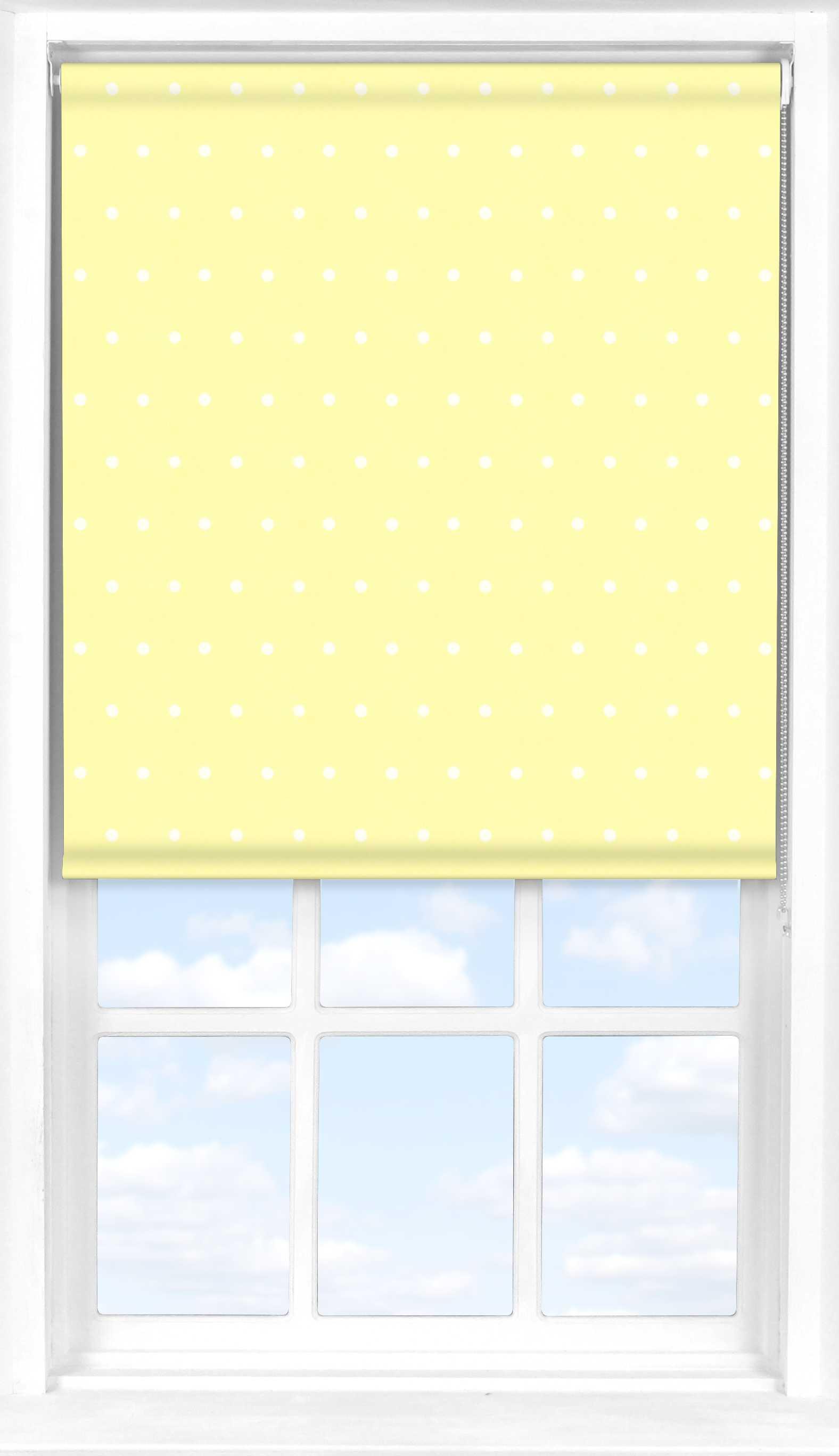 Roller Blind in Lemon Polka Dot Blackout