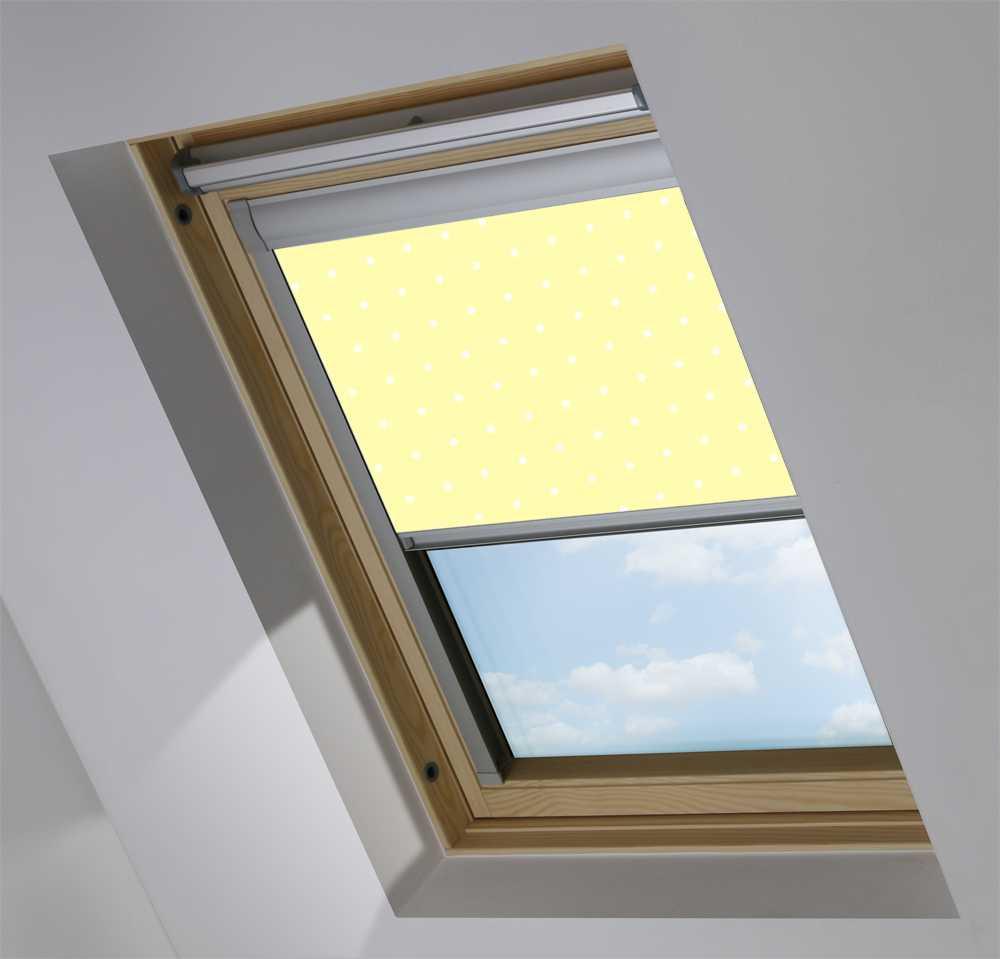 Made-To-Measure Premium Skylight Blind in Lemon Polka Dot Blackout