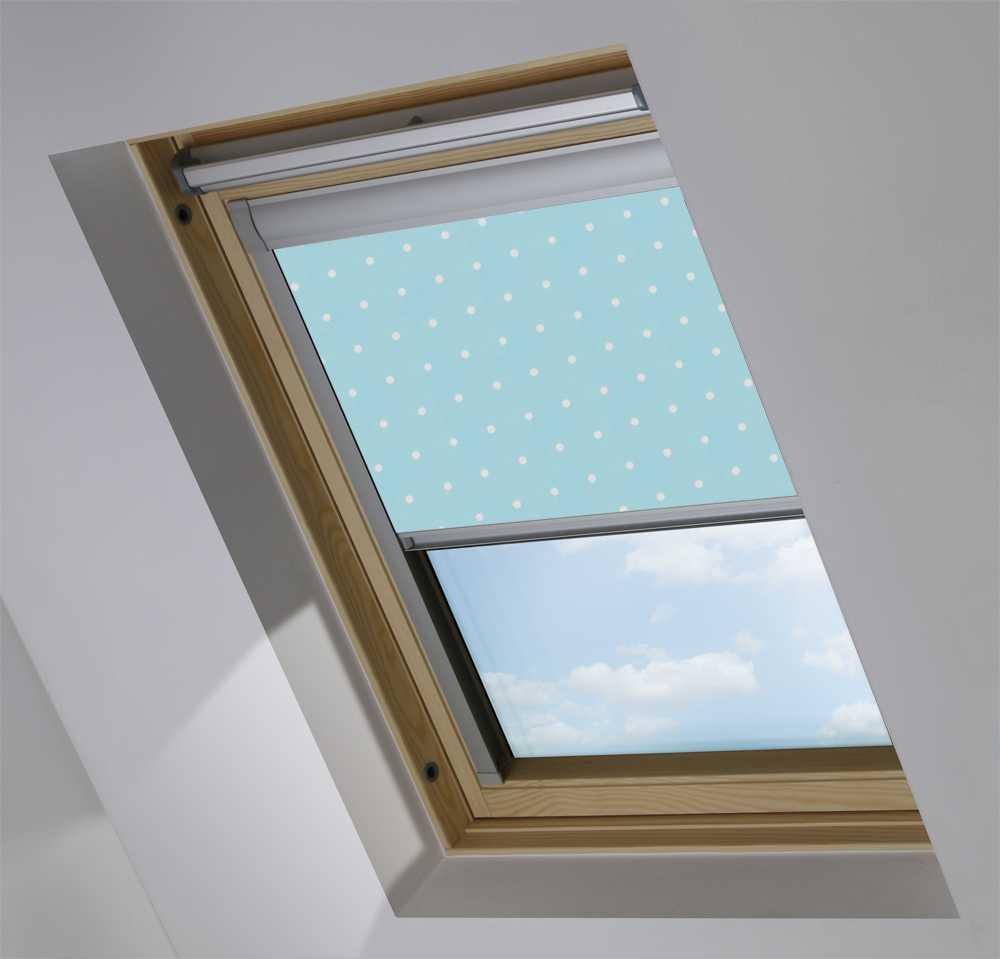 Made-To-Measure Premium Skylight Blind in Blue Polka Dot Blackout