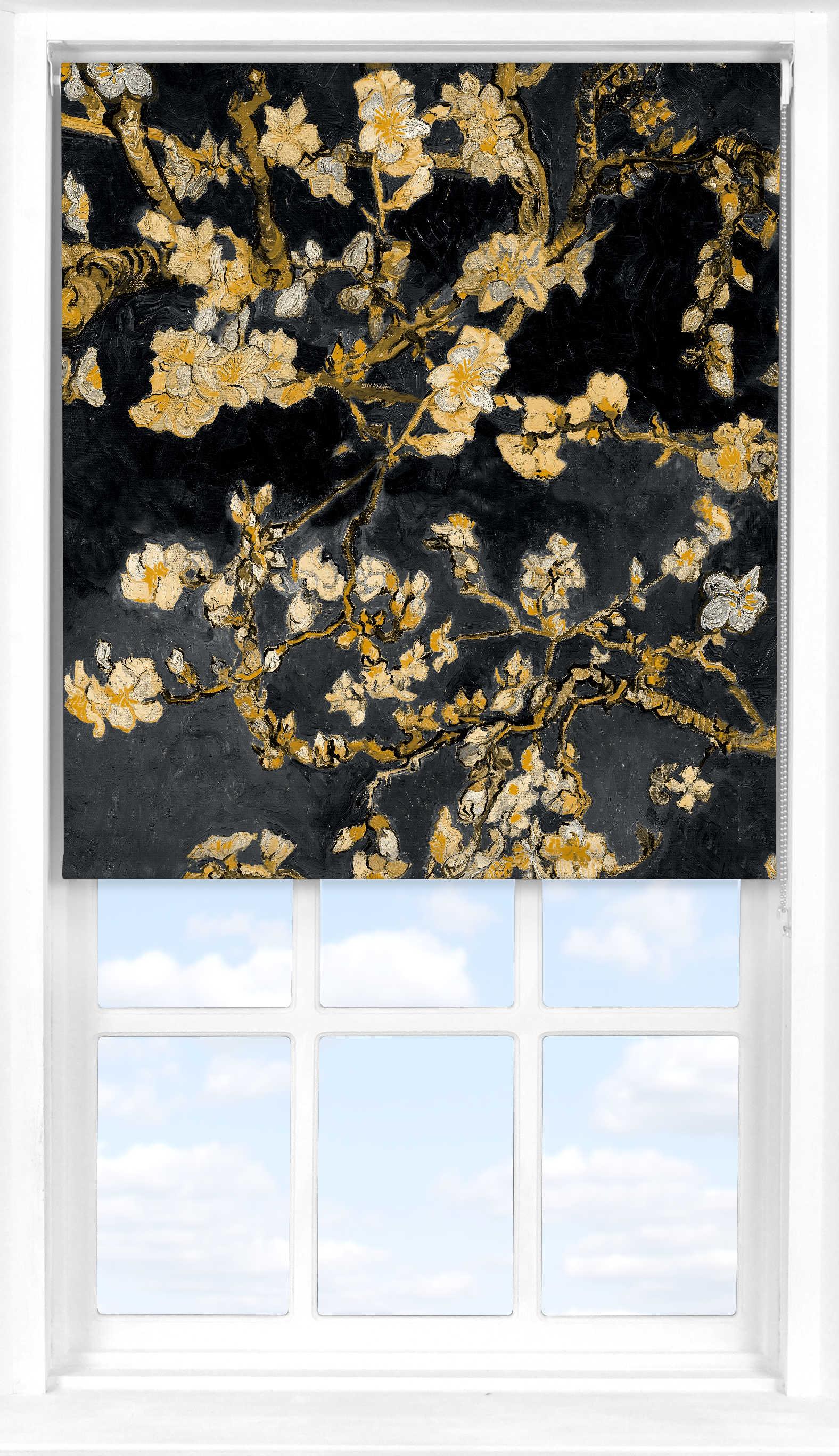 Roller Blind in Van Gogh Almond Blossom Black Translucent