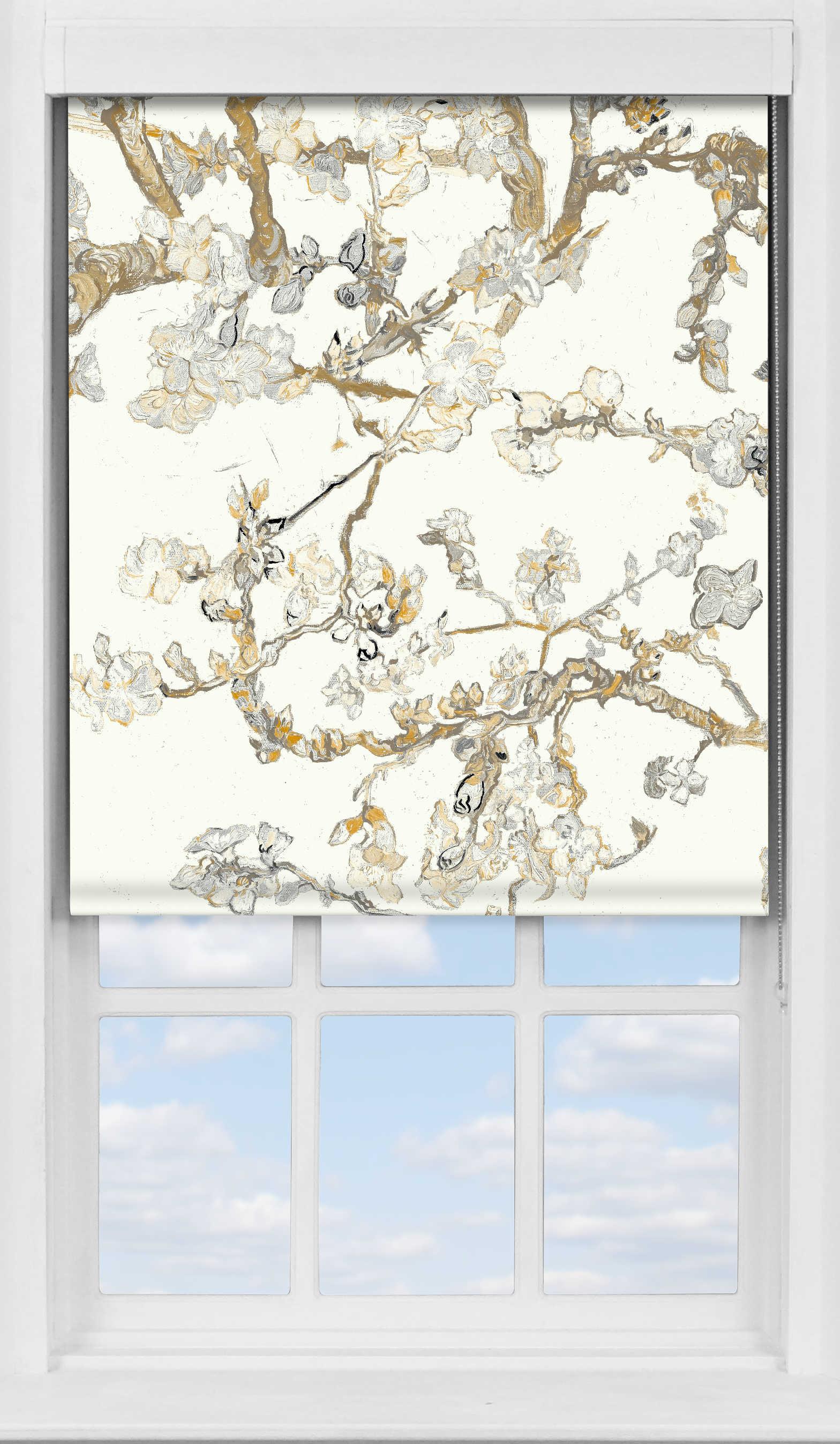 Premium Roller Blind in Van Gogh Almond Blossom Cream Blackout