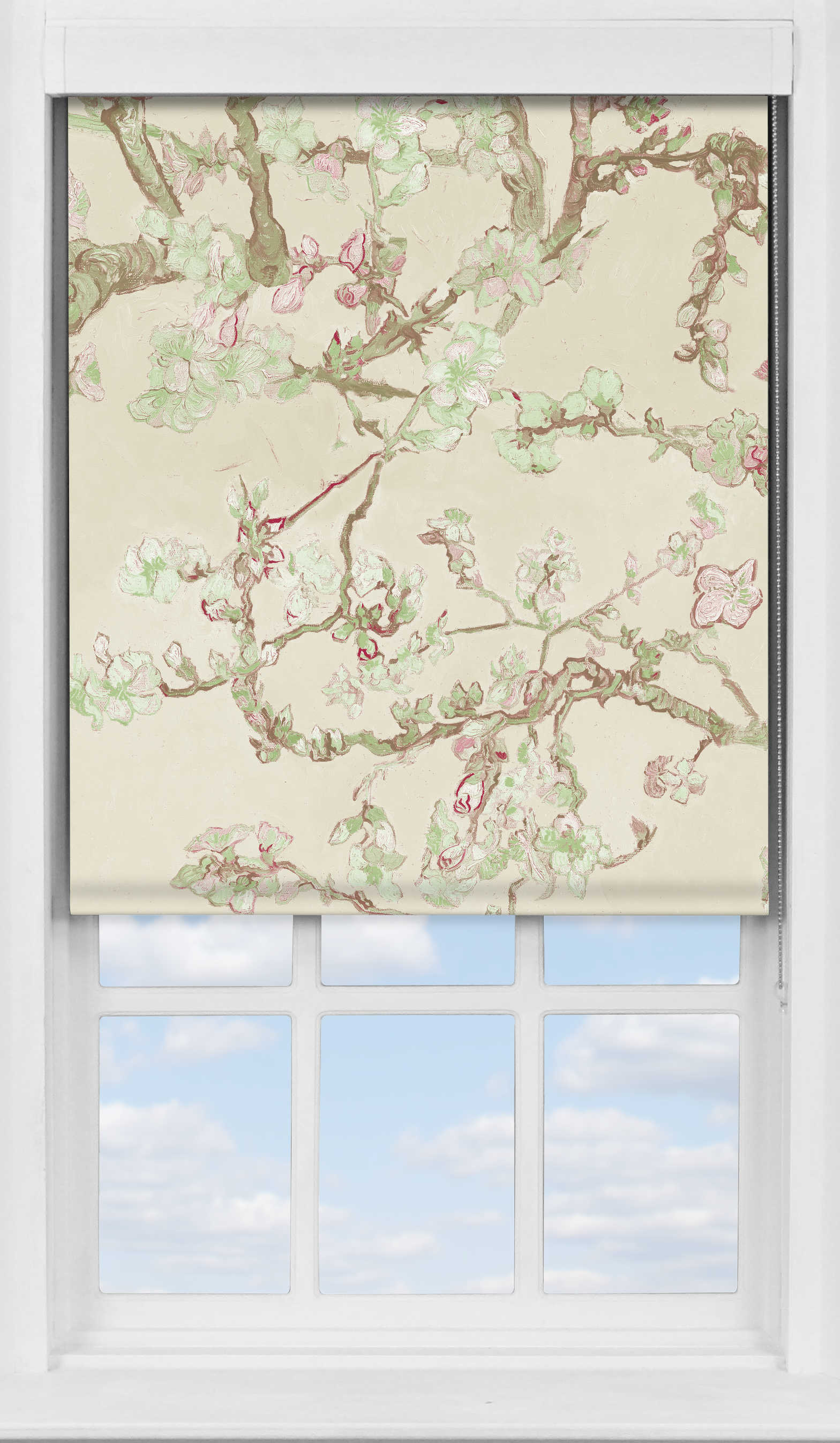 Premium Roller Blind in Van Gogh Almond Blossom Natural Blackout