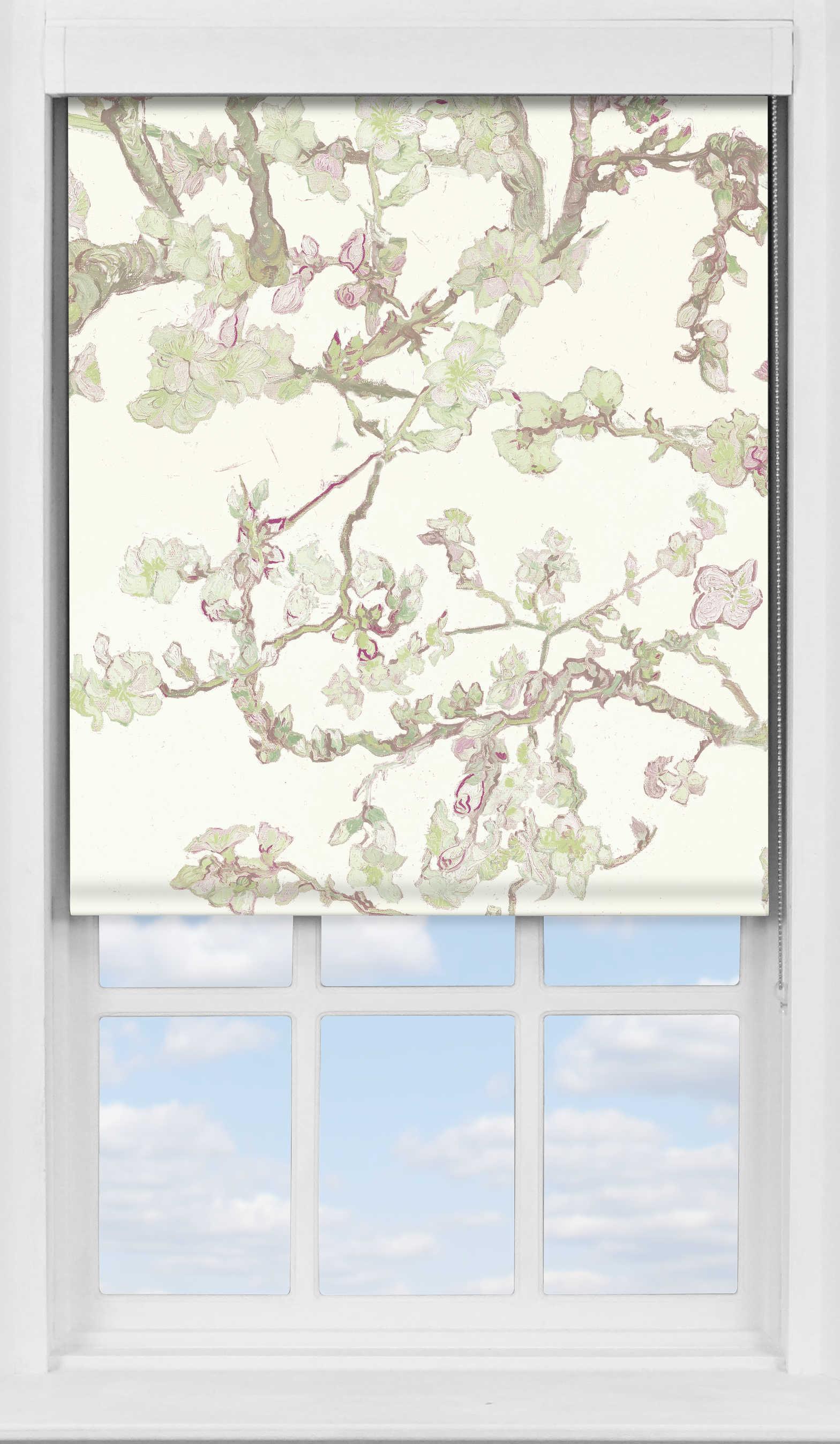 Premium Roller Blind in Van Gogh Almond Blossom White Blackout