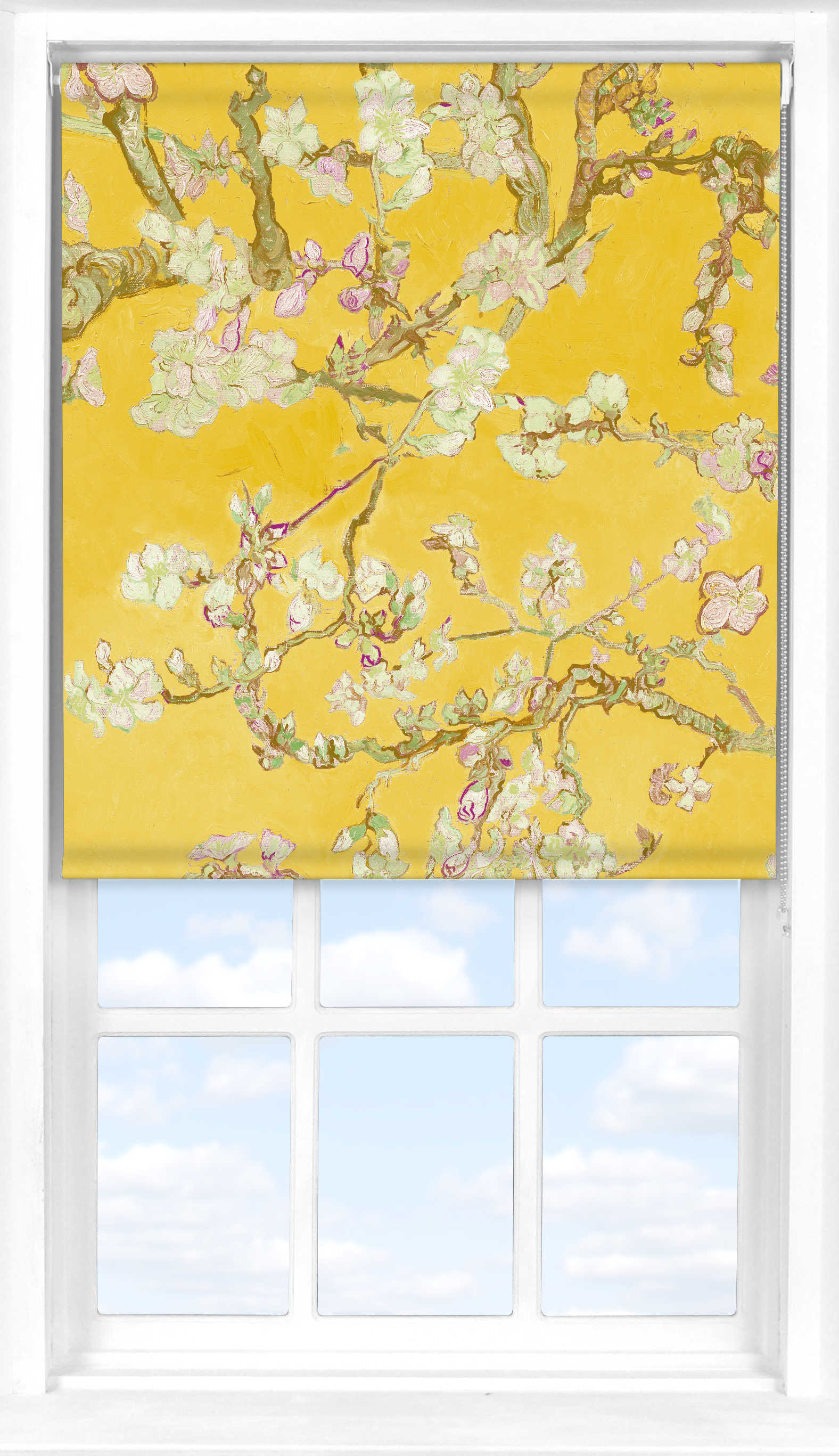 Roller Blind in Van Gogh Almond Blossom Yellow Translucent
