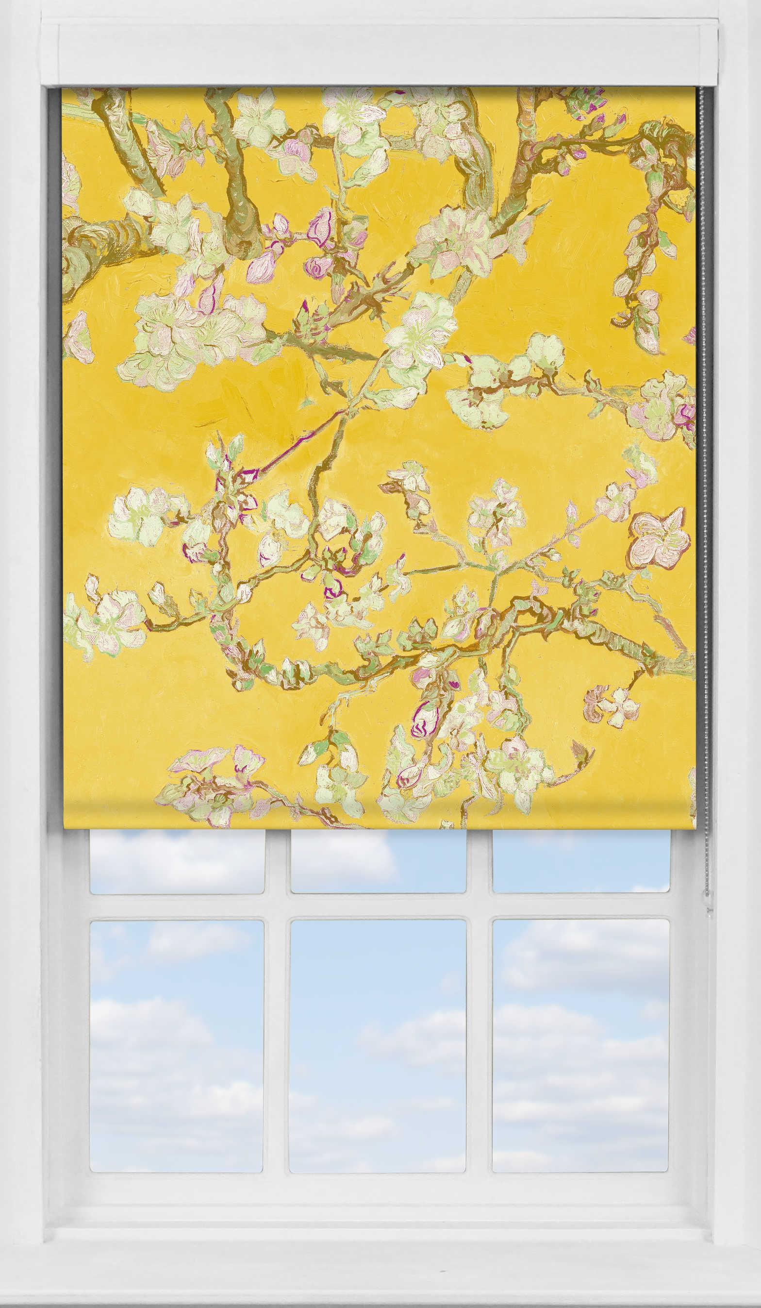 Premium Roller Blind in Van Gogh Almond Blossom Yellow Translucent