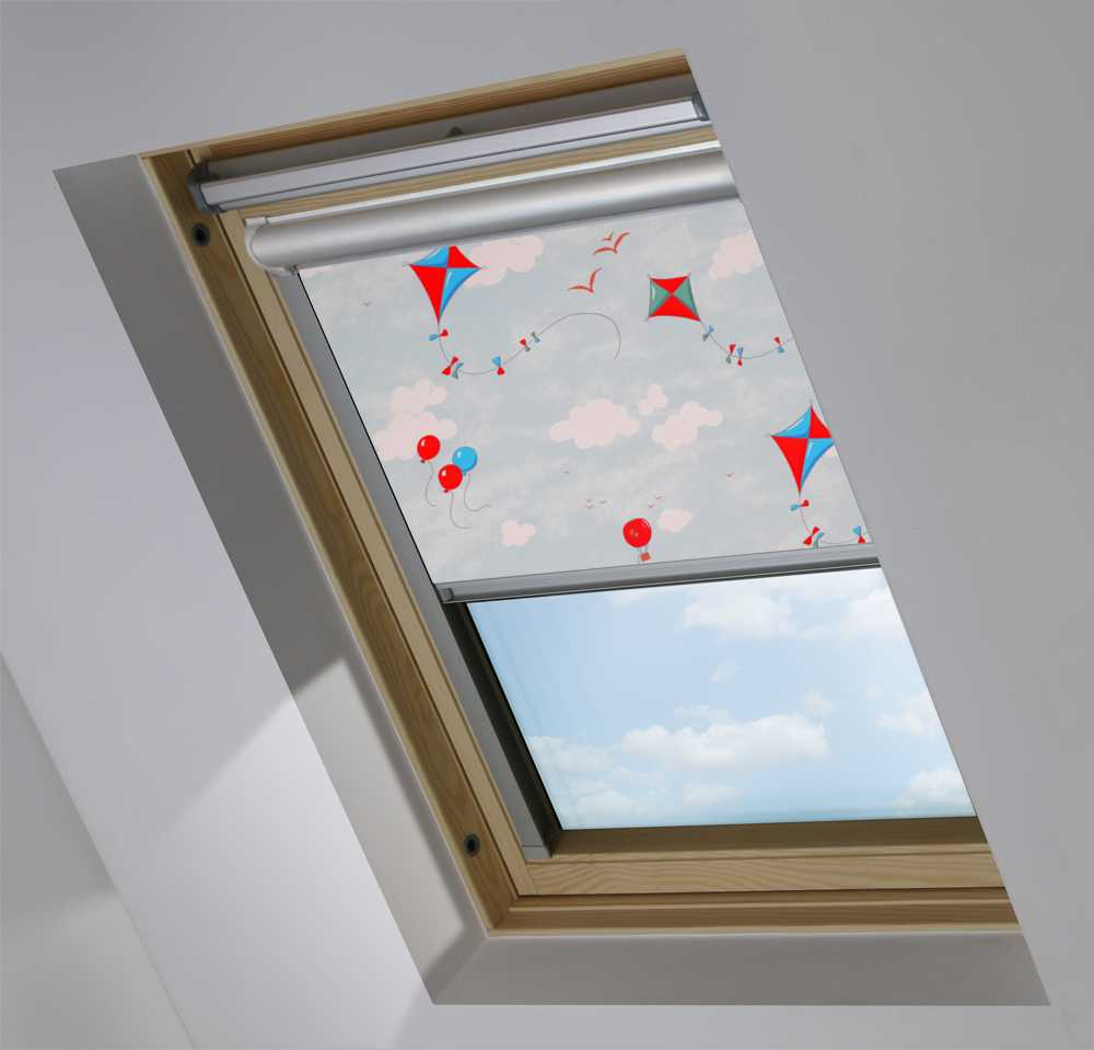 Solar Skylight Blinds to Suit FAKRO® Windows in Up & Away Blue Sky Blackout