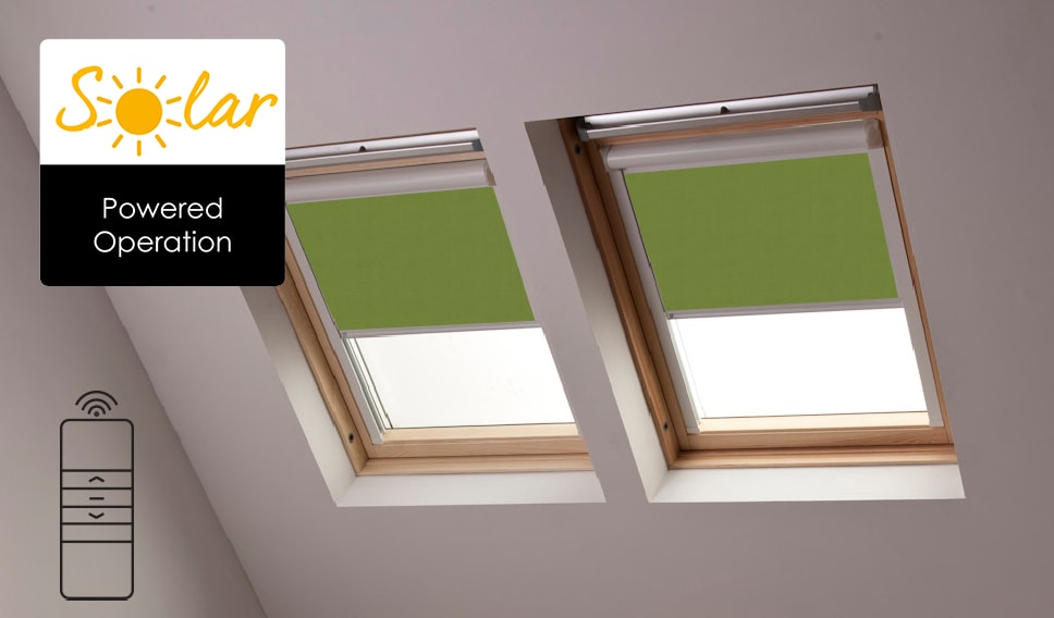 Solar powered velux skylight blinds from bloc blinds for Velux solar powered blinds